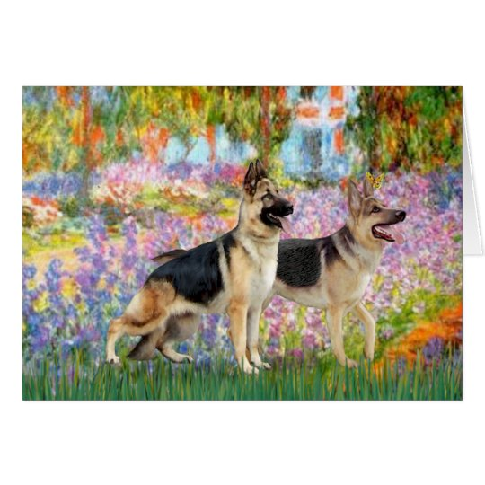 Garden - Two German Shepherds Card