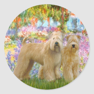 Garden - Two Wheaten Terriers Classic Round Sticker
