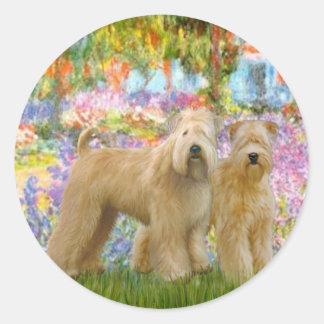 Garden - Two Wheaten Terriers Round Sticker