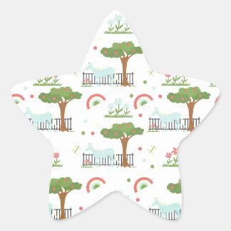 Garden Unicorn Pattern Star Sticker