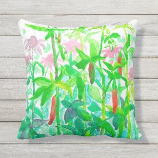 Garden Vegetables Serrano Basil Watercolor Cushion
