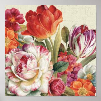 Garden View Tossed Flowers Poster