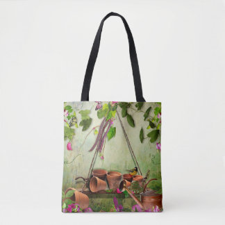 Garden Wall watering can clay pots peas bird Tote Bag