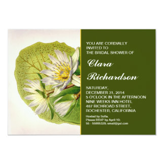 garden white lily bridal shower invitation