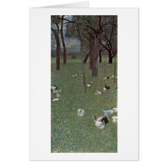 Garden With Chickens By Gustav Klimt Card