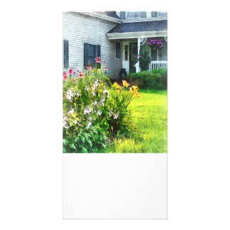 Garden with Coneflowers and Lilies Photo Greeting Card