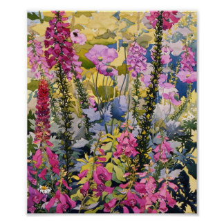 Garden with Foxgloves Poster