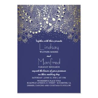 Garden Wonderland - Navy Woodland Floral Wedding 13 Cm X 18 Cm Invitation Card