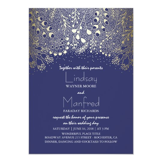 Garden Wonderland - Navy Woodland Floral Wedding Card