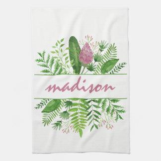 Garden Woods Botanical Typography Tea Towel