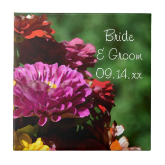 Garden Zinnia Flowers Wedding Tile