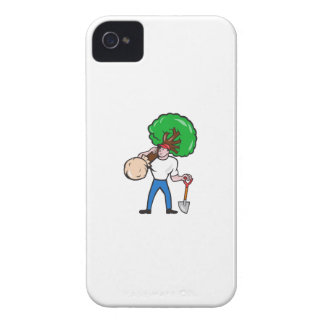 Gardener Arborist Carrying Tree Cartoon iPhone 4 Cover
