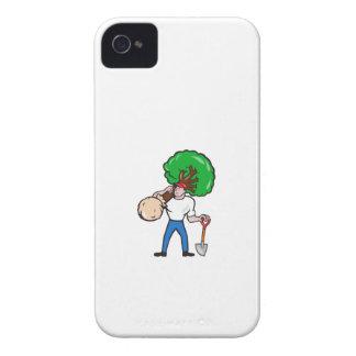 Gardener Arborist Carrying Tree Cartoon Case-Mate iPhone 4 Cases