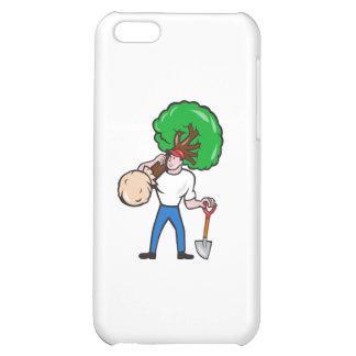 Gardener Arborist Carrying Tree Cartoon iPhone 5C Cases