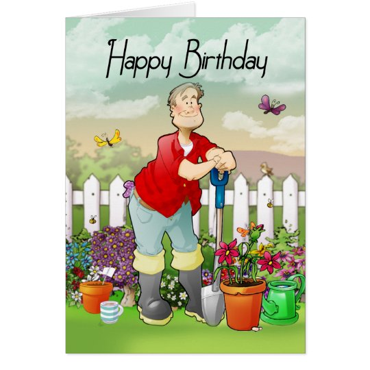 gardener birthday greeting card