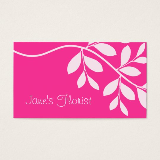 Gardener Business Card Leaf Branch Pink