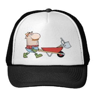Gardener Drives A Barrow With Tools Mesh Hats