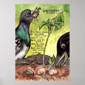 Gardener Kitchen Art Poem Poster Crow Pigeon Seeds