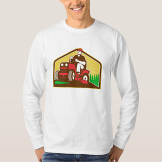 Gardener Landscaper Ride On Lawn Mower Retro T-Shirt