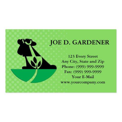 Gardener Landscaper With Shovel Digging Plant Business Card