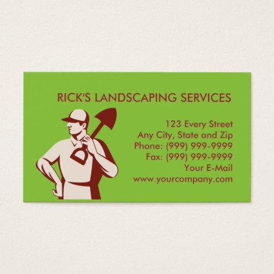 gardener landscaper worker with shovel business card
