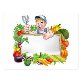 Gardener Vegetables Sign Postcard