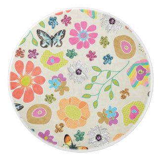 Gardener's Dream: Colorful Flowers and butterflies Ceramic Knob