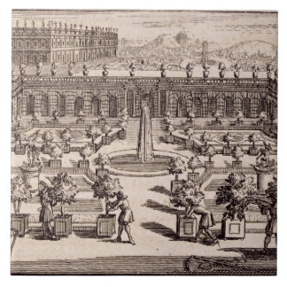Gardeners working in an orange garden, from 'Le Pa Large Square Tile