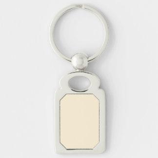 Gardenia Cream in an English Country Garden Silver-Colored Rectangle Key Ring