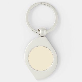 Gardenia Cream in an English Country Garden Silver-Colored Swirl Key Ring