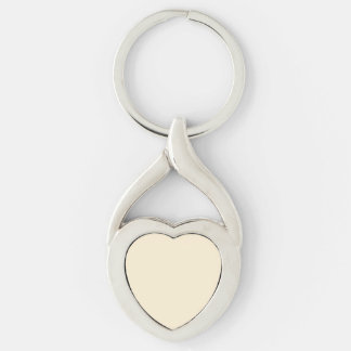 Gardenia Cream in an English Country Garden Silver-Colored Twisted Heart Key Ring