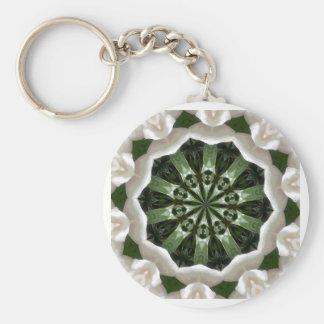 Gardenia Kaleidoscope Basic Round Button Key Ring