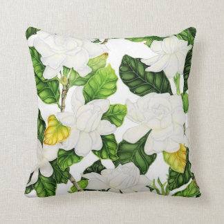 Gardenia Watercolor Throw Pillow