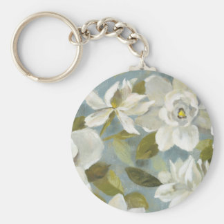 Gardenias on Slate Blue Basic Round Button Key Ring