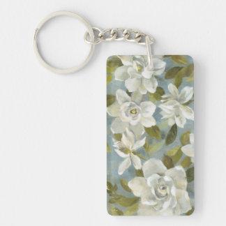 Gardenias on Slate Blue Double-Sided Rectangular Acrylic Key Ring