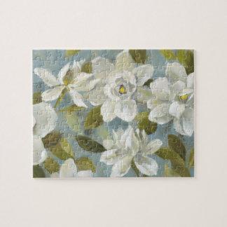 Gardenias on Slate Blue Jigsaw Puzzle