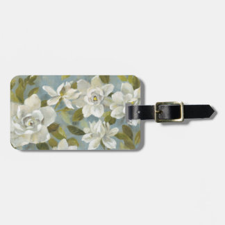 Gardenias on Slate Blue Luggage Tag