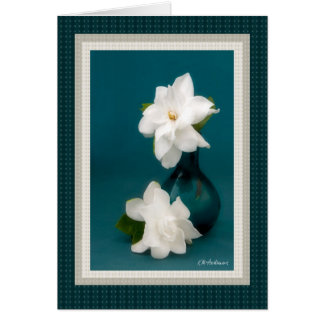 Gardenias & teal I Card