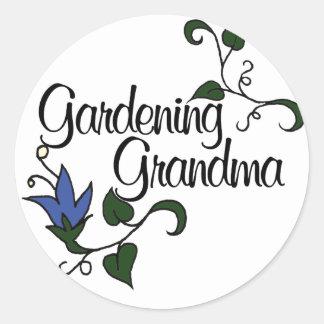 Gardening Grandma Round Sticker