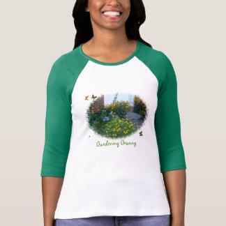 Gardening Granny-flowers+butterflies T-Shirt