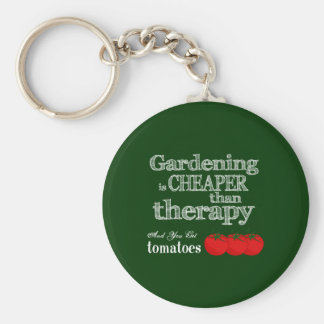 Gardening is Cheaper than Therapy... Basic Round Button Key Ring