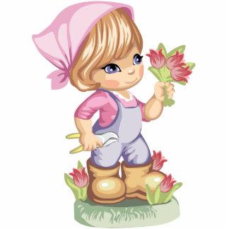Gardening Little Girl Magnet Standing Photo Sculpture