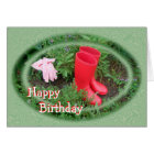 Gardening Red Boots Birthday or any occasion Card