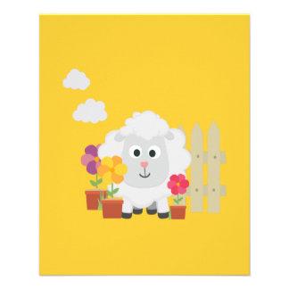 Gardening Sheep with flowers Z67e8 11.5 Cm X 14 Cm Flyer