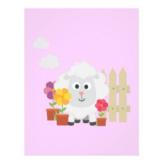 Gardening Sheep with flowers Z67e8 21.5 Cm X 28 Cm Flyer