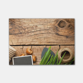 Gardening Tools With Twine And Bulbs On Wood Post-it® Notes