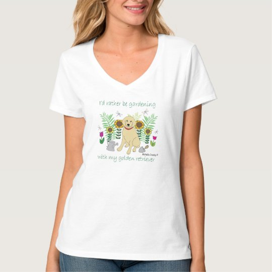 gardening w/golden - more breeds T-Shirt