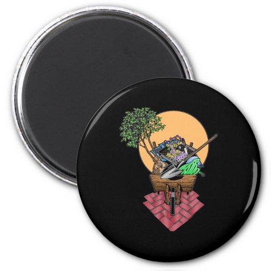 Gardening Wheel Barrel Design 6 Cm Round Magnet