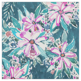 GARDENS OF TIBURON Boho Chic Floral Watercolor Fabric