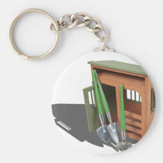 GardenShedTools030111 Basic Round Button Key Ring